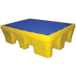Cubeta de retención de polietileno 2 bidones, 240 litros 131 cm x 91 cm x 38 cm
