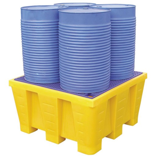 Cubeta de retención de polietileno 4 bidones, 880 litros 129 cm x 129 cm x 70,5 cm 1