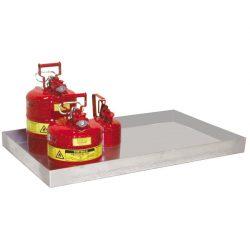 Cubeto de retención de acero galvanizado para bidones, 20 litros. 94 cm x 37 cm x 6 cm