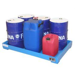 Cubeta de retención de acero barnizado 6 bidones, 103 litros. 130 cm x 80 cm x 13,5 cm