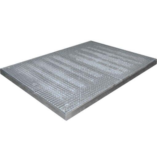 Plataforma de retención de acero galvanizado 6 bidones, 118 litros 190 cm x 135 cm x 7,8 cm 1