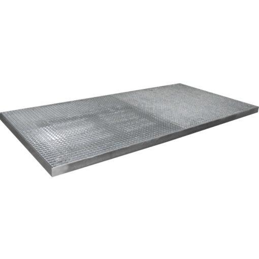 Plataforma de retención de acero galvanizado 8 bidones, 172 litros 285 cm x 135 cm x 7,8 cm 1
