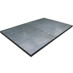 Plataforma de retención de acero galvanizado 12 bidones, 242 litros 285 cm x 190 cm x 7,8 cm