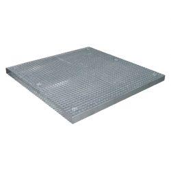 Plataforma de retención de acero galvanizado 4 bidones, 82 litros. 135 cm x 135 cm x 7,8 cm.