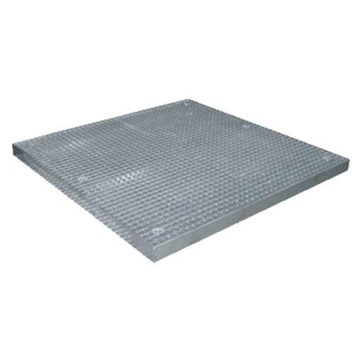 Plataforma de retención de acero galvanizado 4 bidones, 82 litros. 135 cm x 135 cm x 7,8 cm