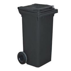 Contenedor de plástico de color Negro 2 ruedas, 120 L 55 cm x 48 cm x 93 cm