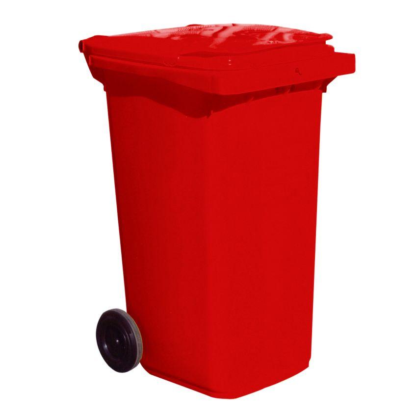 Contenedor de plástico de color Rojo 2 ruedas, 120 L 55 cm x 48 cm x 93 cm