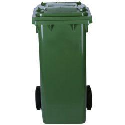 Contenedor de plástico de color Verde 2 ruedas, 120 L 55 cm x 48 cm x 93 cm