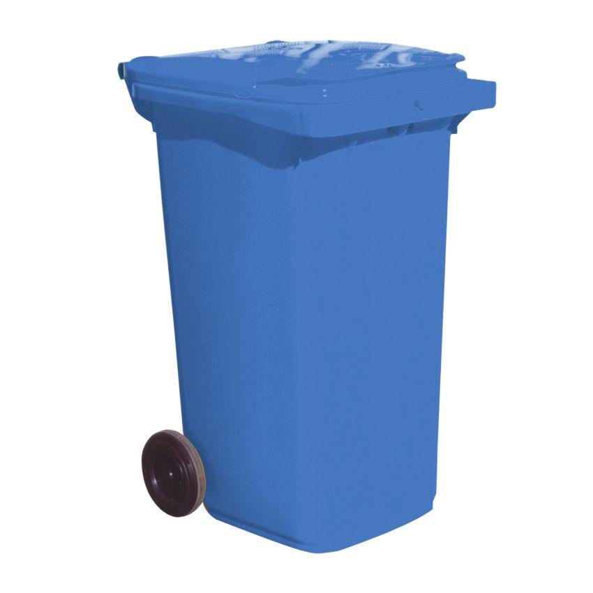 Contenedor de plástico de color Azul 2 ruedas, 240 L 73 cm x 58 cm x 106 cm