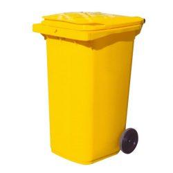 Contenedor de plástico de color Amarillo 2 ruedas, 240 L 73 cm x 58 cm x 106 cm