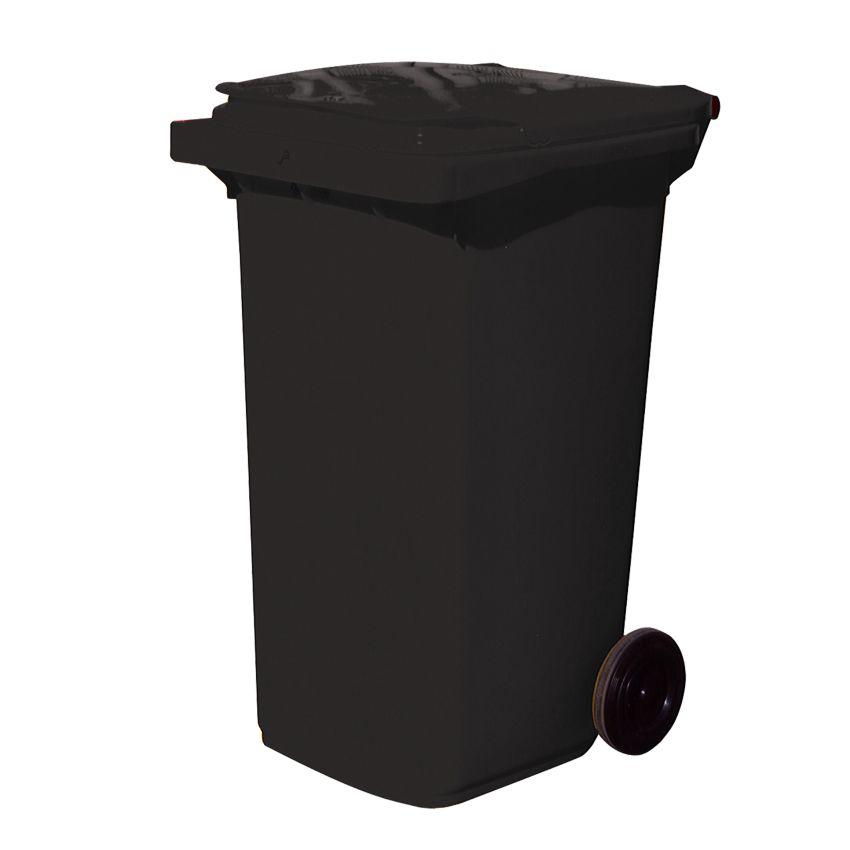 Contenedor de plástico de color Negro 2 ruedas, 240 L 73 cm x 58 cm x 106 cm