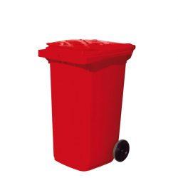Contenedor de plástico de color Rojo 2 ruedas, 240 L 73 cm x 58 cm x 106 cm