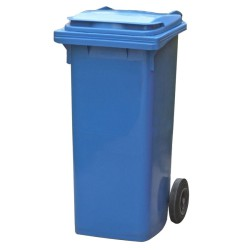 Contenedor de plástico de color Azul 2 ruedas, 90 L 55 cm x 48 cm x 86 cm