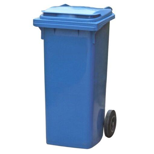 Contenedor de plástico de color Azul 2 ruedas, 90 L 55 cm x 48 cm x 86 cm 1
