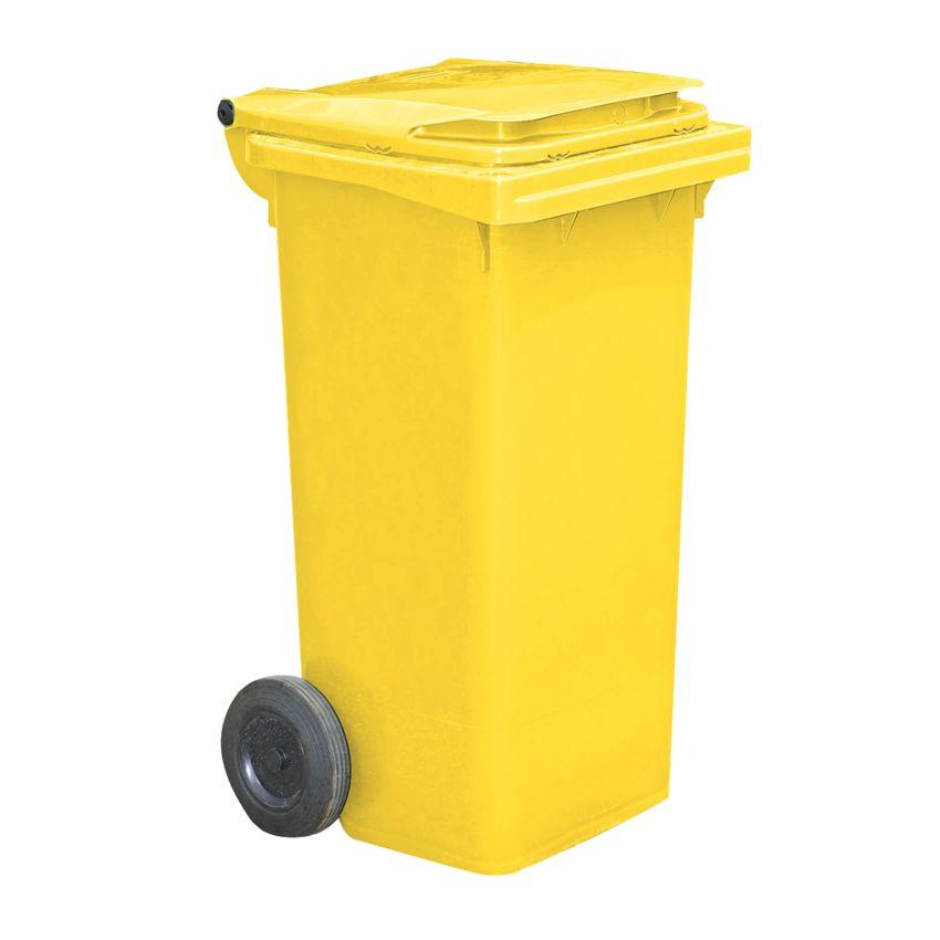 Contenedor de plástico de color Amarillo 2 ruedas, 90 L 55 cm x 48 cm x 86 cm