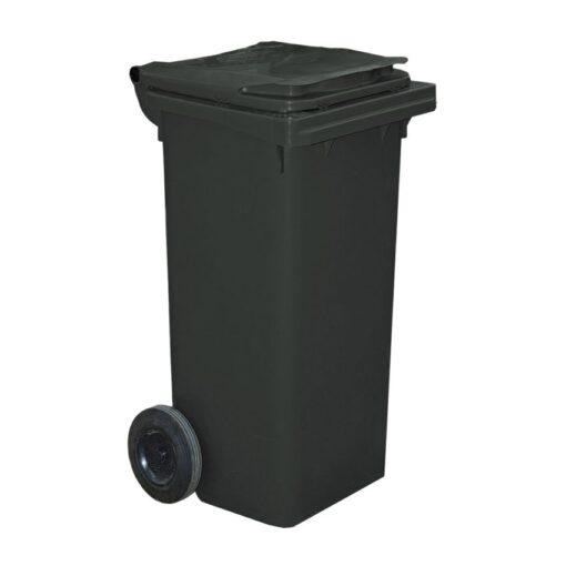 Contenedor de plástico de color Negro 2 ruedas, 90 L 55 cm x 48 cm x 86 cm 1