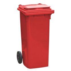 Contenedor de plástico de color Rojo 2 ruedas, 90 L 55 cm x 48 cm x 86 cm