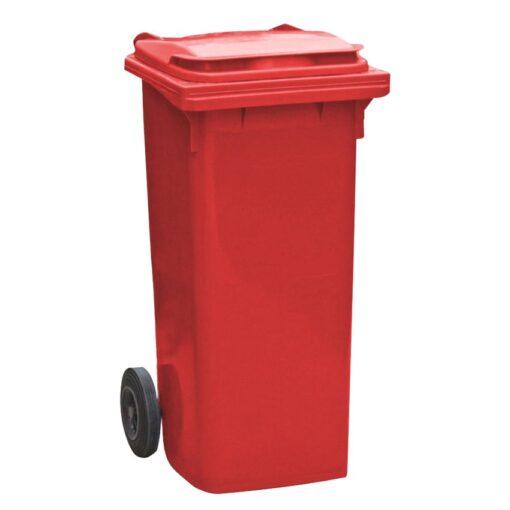 Contenedor de plástico de color Rojo 2 ruedas, 90 L 55 cm x 48 cm x 86 cm 1