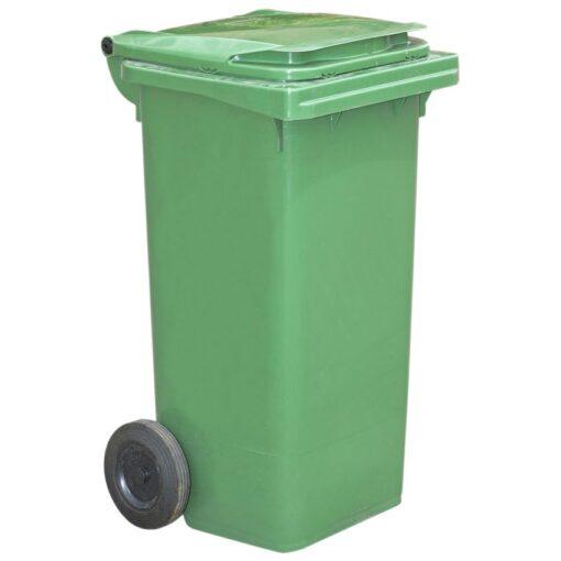 Contenedor de plástico de color Verde 2 ruedas, 90 L 55 cm x 48 cm x 86 cm 1