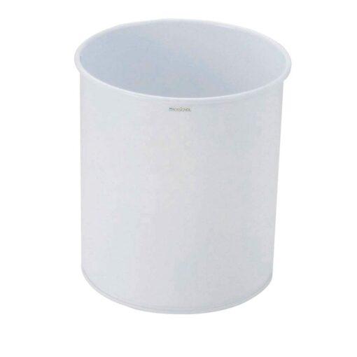Papelera circular metálica color Blanco 15 L,  Ø27 cm x 30 cm 1