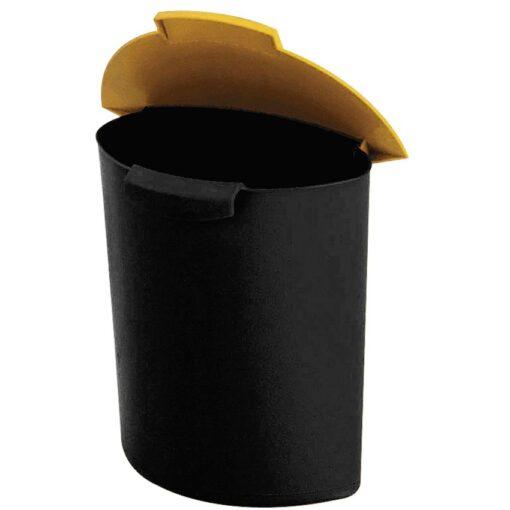 Recipiente de plástico color Negro con tapa color Amarillo para recogida 6 L 1