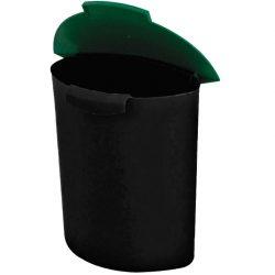 Recipiente de plástico color Negro con tapa color Verde para recogida 6 L