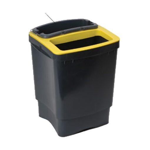 Papelera plástico color Negro 50 litros con recipiente de separación 38 cm x 40 cm x 50 cm 1