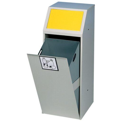 Papelera metálica color Gris trampilla basculante en color Amarillo para recogida selectiva 69 L, 40 cm x 40 cm x 100 cm 1