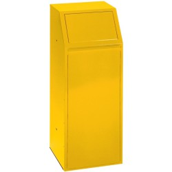 Papelera metálica color Amarillo económica para recogida selectiva 72 L, 40 cm x 40 cm x 100 cm