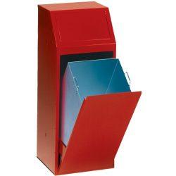 Papelera metálica color Rojo económica para recogida selectiva 72 L, 40 cm x 40 cm x 100 cm