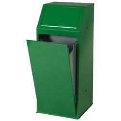 Papelera metálica color Verde económica para recogida selectiva 72 L, 40 cm x 40 cm x 100 cm