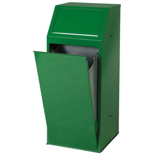 Papelera metálica color Verde económica para recogida selectiva 72 L, 40 cm x 40 cm x 100 cm 1