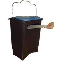 Papelera de plástico color Negro con apertura papel para recogida selectiva 35 L, 31 cm x 45,3 cm x 50,6 cm