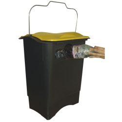 Papelera de plástico color Negro con apertura envase para recogida selectiva 35 L, 31 cm x 45,3 cm x 50,6 cm