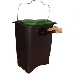 Papelera de plástico color Negro  con apertura cristal para recogida selectiva 35 L, 31 cm x 45,3 cm x 50,6 cm