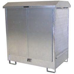 Contenedor exterior de acero galvanizado 4 bidones, 220 litros 143,7 cm x 150 cm x 155,7 cm