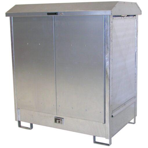 Contenedor exterior de acero galvanizado 2 bidones, 210 litros 143,7 cm x 101,5 cm x 161,4 cm 1