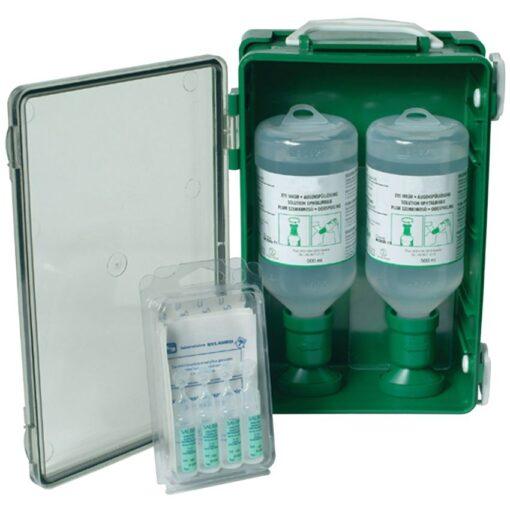 Solución de enjuague ocular en caja, 2 frascos 1