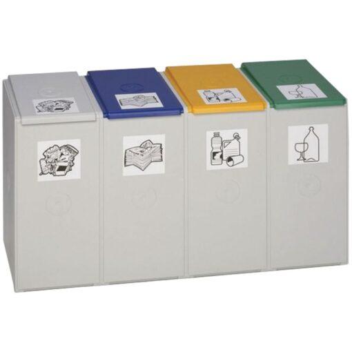 Recolector de plástico color gris 4 modulos 40 L sin tapa 41 cm x 101 cm x 57 cm 1