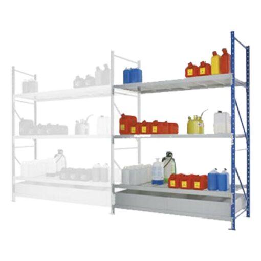 Elemento siguiente para estantería de retención de acero barnizado, 220 litros 180 cm x 80 cm x 200 cm 1