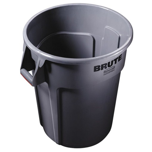 BRUTE Papelera de plástico color Gris redonda con bocas de ventilación,  Ø61 cm x 80 cm 1