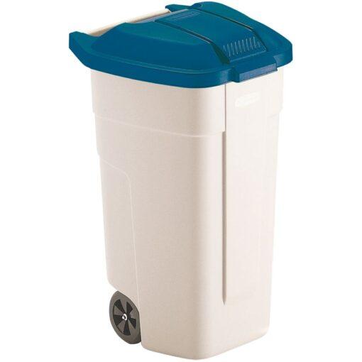 Contenedor de plástico con tapa de color Azul 2 ruedas, 100 L 52,5 cm x 50,5 cm x 80 cm 1