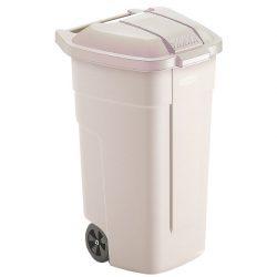 Contenedor de plástico con tapa de color Beig 2 ruedas, 100 L 52,5 cm x 50,5 cm x 80 cm