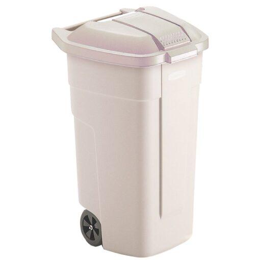Contenedor de plástico con tapa de color Beig 2 ruedas, 100 L 52,5 cm x 50,5 cm x 80 cm 1