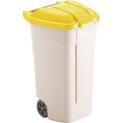 Contenedor de plástico con tapa de color Amarillo 2 ruedas, 100 L 52,5 cm x 50,5 cm x 80 cm