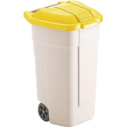 Contenedor de plástico con tapa de color Amarillo 2 ruedas, 100 L 52,5 cm x 50,5 cm x 80 cm 1