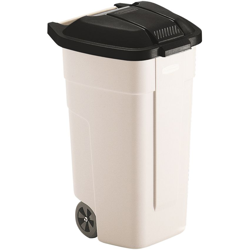 Contenedor de plástico con tapa de color Negro 2 ruedas, 100 L 52,5 cm x 50,5 cm x 80 cm
