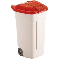 Contenedor de plástico con tapa de color Rojo 2 ruedas, 100 L 52,5 cm x 50,5 cm x 80 cm