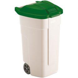 Contenedor de plástico con tapa de color Verde 2 ruedas, 100 L 52,5 cm x 50,5 cm x 80 cm