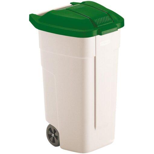 Contenedor de plástico con tapa de color Verde 2 ruedas, 100 L 52,5 cm x 50,5 cm x 80 cm 1